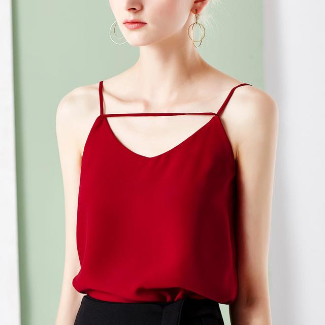 Sexy Com Decote Em V Backless Europeus Moda Verão Cor Sólida todo o Jogo Feminino Camisole Tops Solto Assentamento Mulher Camisa Colete T