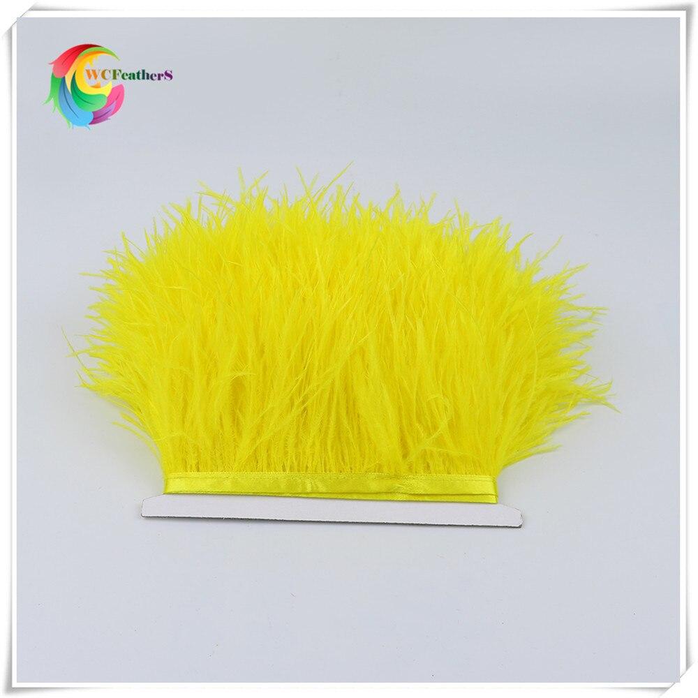 1 метр 32 цвета обрезки из натуральных перьев страуса высота 8-10 см Перья ленты для DIY свадьба на праздник, украшение для платья Ремесло - Цвет: O9 Yellow