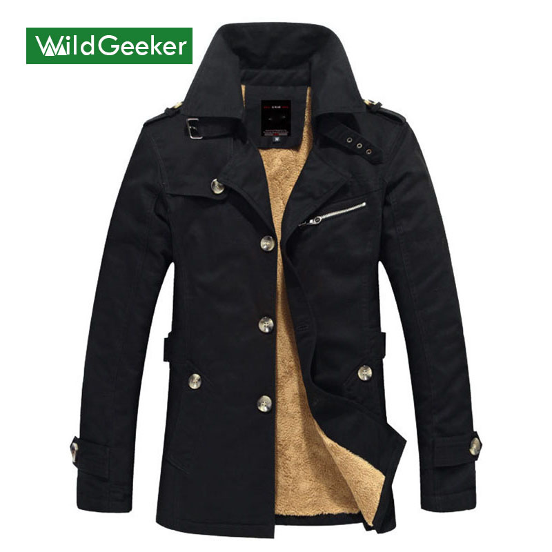 Wildgeeker Men s Thick Parkas Plus Size M 5XL Winter Mid length Turn down Collar Solid