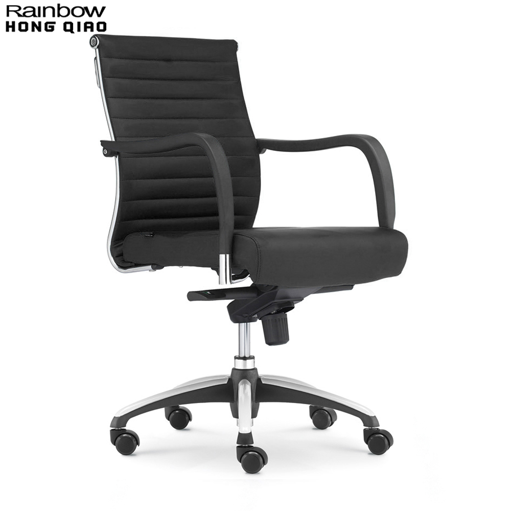 Office Chair, Swivel Computer Chair, Mid Back Armchair - Fixed Arms Stylish Ribbed Upholstered PU Leather Thick Comfortable Seat