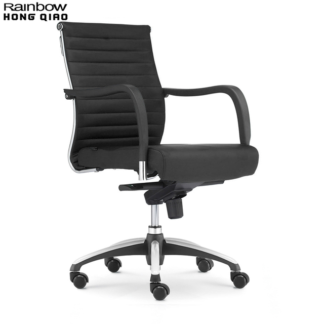 Upholstered Computer Chair On Sale Office Swivel Mid Back Armchair Fixed Arms Stylish Ribbed Pu Leather Thick Comfortable Seat