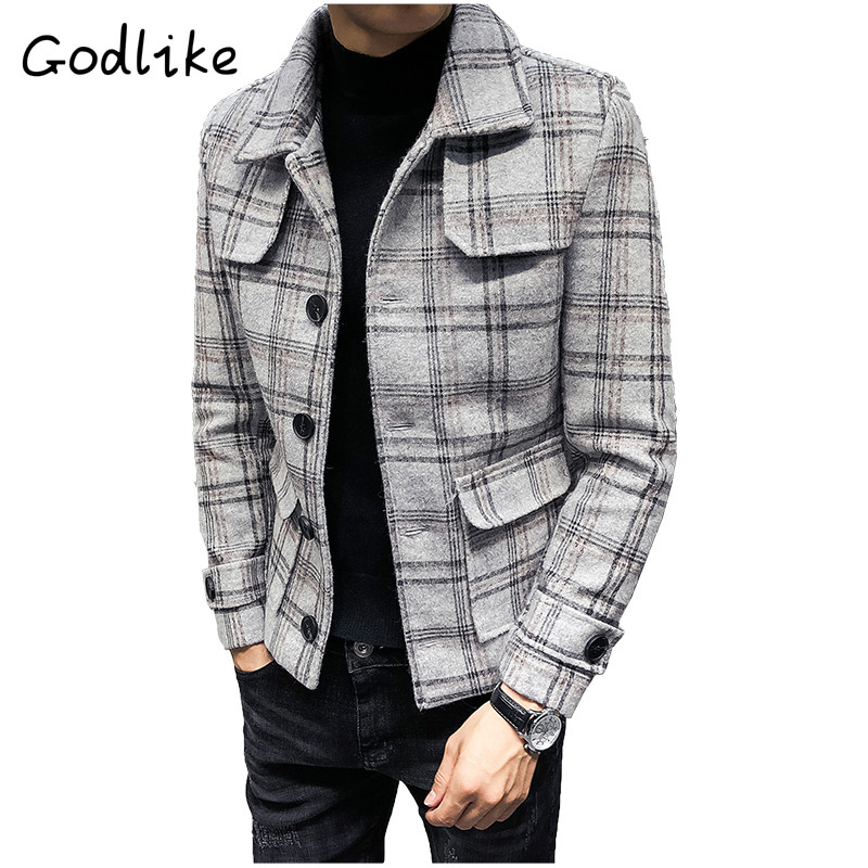 GODLIKE Autumn and winter new fashion men retro plaid fashion business casual woolen short style   trench   coat coat