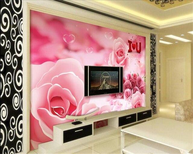 Beibehang 3D Wallpaper Beautifully Romantic Rose TV Walls Wall ...