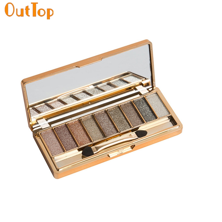 OutTop Beauty Fashion 9 Colors Shimmer Eyeshadow Eye Shadow Palette & Makeup Cosmetic Brush Set 160809 Drop Shipping