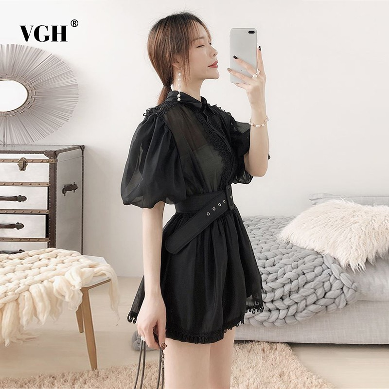 VGH Summer Chiffon Hollow Out Blouse Women Lapel Collar Half Sleeve Sashes Slim Embroidery Shirt Female 2019 Fashion New Clothes