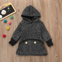 12M 4T Winter Kid Baby Girl Solid Hoodie Sweatshirt Pullover Tops Warm Clothes Little Girls New