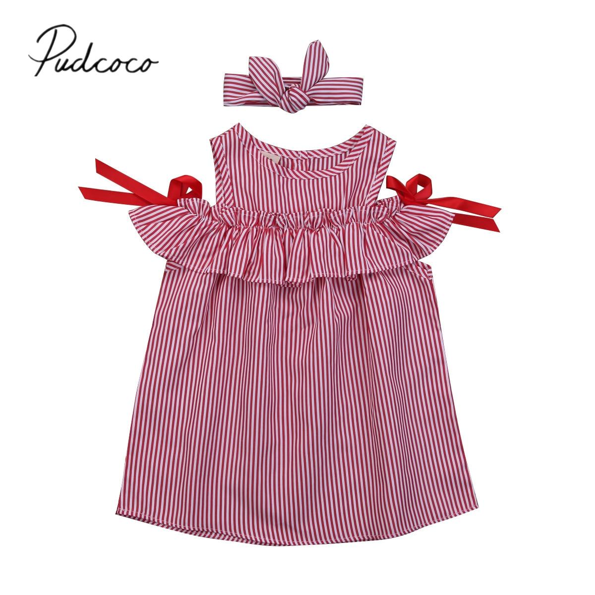 2018 Brand New Infant Toddler Child Kids Baby Girls Princess Stripe Off Shoulder Dress Clothes Outfits Set Summer Sundress