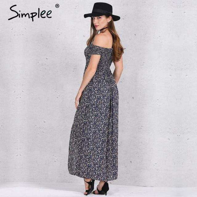 Off Shoulder Summer Maxi dress Vintage Style