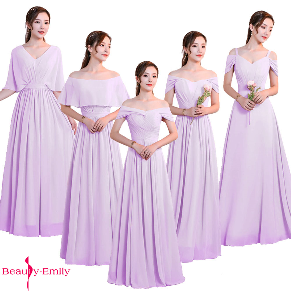 Beauty Emily Elegant Bridesmaid Dresses Chiffon V Neck Lace Up Back Wedding Guest Dress 5 Styles Multi-color Brautjungfernkleid