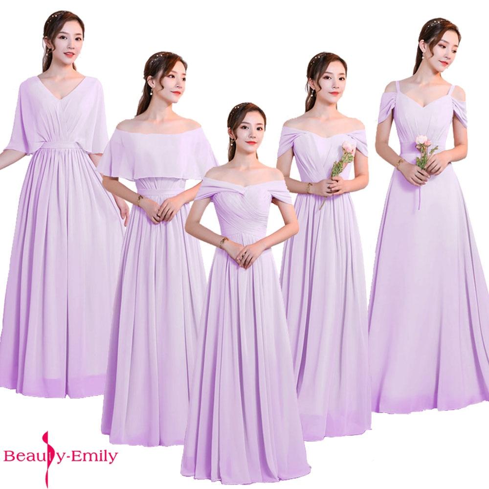 Beauty Emily Elegant Bridesmaid Dresses Chiffon V Neck Lace Up Back Wedding Guest Dress 5 Styles Multi-color Brautjungfernkleid
