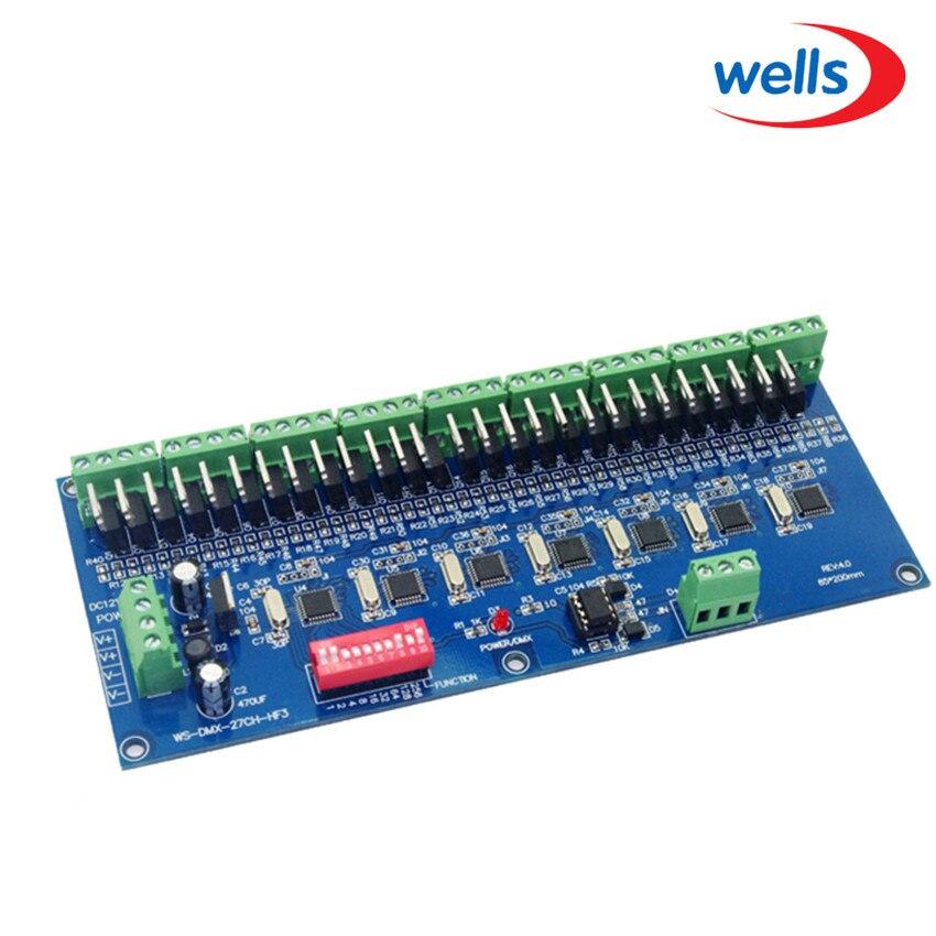 High frequency 10KHZ HF 27 CH dmx512 decoder, 27CH DMX512 controller dmx512 digital display 24ch dmx address controller dc5v 24v each ch max 3a 8 groups rgb controller