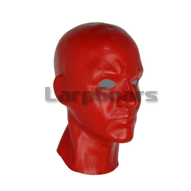 Форма 3D красный/черный/розовый латексный маска человека капюшон открытые глаза фетиш бдсм шляпка для косплея