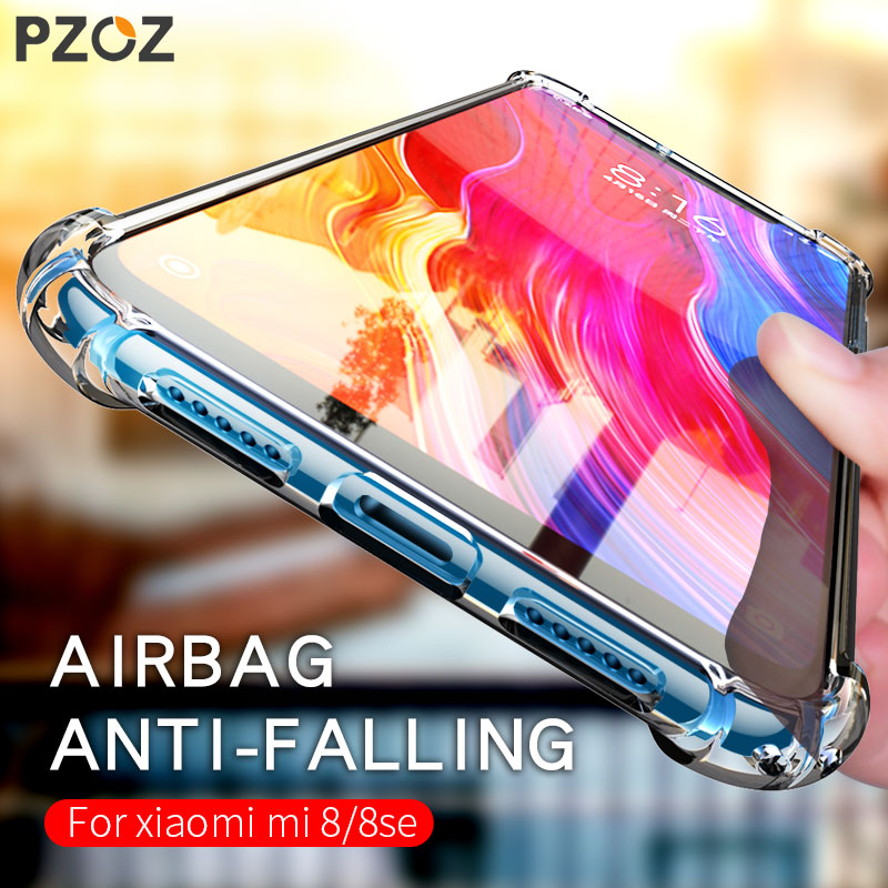 PZOZ Case For <font><b>Xiaomi</b></font> Mi 8 SE <font><b>MI8</b></font> <font><b>MI8</b></font> SE <font><b>128gb</b></font> 256gb Phone Protective Case Soft TPU Transparent Luxury Shockproof protector Shell image