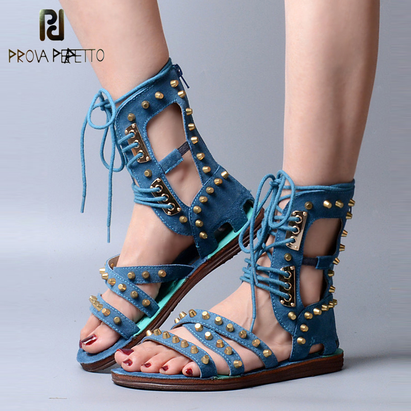 Prova Perfetto Fashion Suede Leather Women Gladiator Sandal Front Cross Tied Back Zipper Summer Boots Rivets Studded Flat Sandal