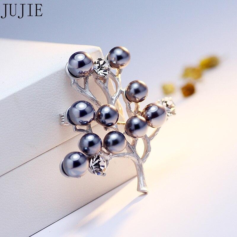 JUJIE Fashion Mewah Pohon Bros Untuk Wanita 2018 Kristal Mutiara Bros - Perhiasan fashion - Foto 4