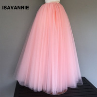 Maxi Skirt 5 Layers Tulle Skirt With Elastic Band Long Skirt Womens Summer Style High Waisted
