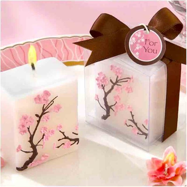 Us 12402 8 Off100 Teilelos Kirschblüte Kerze Romantische Hochzeit Gunsten Partei Kerze Dekorative Baby Dusche Geschenk In 100 Teilelos