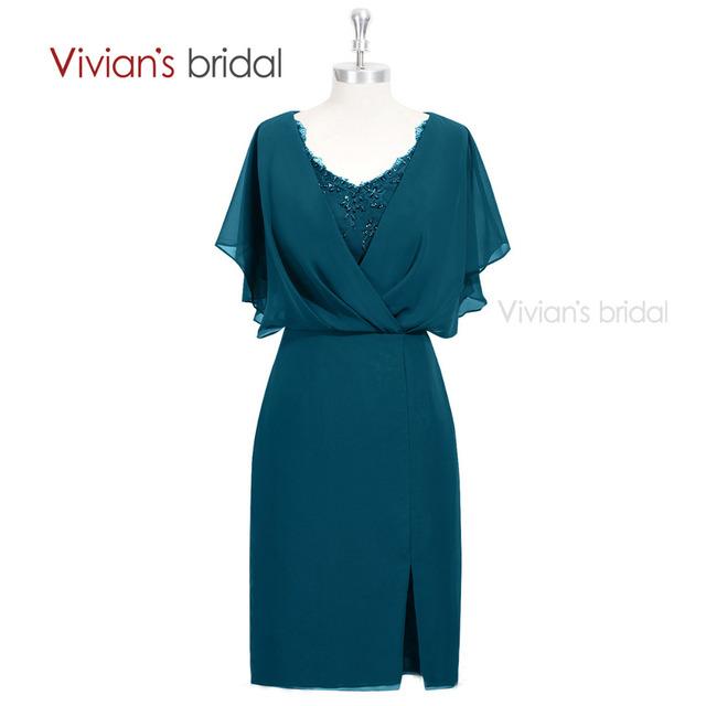 Vivians' Nupcial Bainha Mãe Dos Vestidos de Noiva Para Casamentos Beading Rendas Na Altura Do Joelho Chiffon Vestido Formal MD1027
