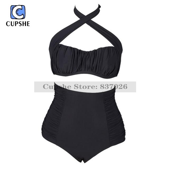 daf8b1c20d Cupshe Black Swan Gathering Halter Bikini Set Women Summer Sexy Swimsuit  Ladies Beach Bathing Suit swimwear