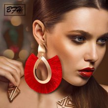 BFH Bohemian Big Tassel Drop Earrings For Women Lady Female Fringe Handmade Brincos Statement Fashion Woman Earring 2018 Jewelry(China)