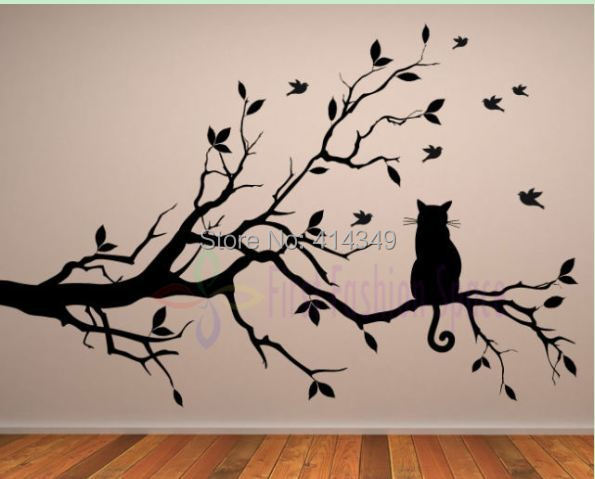 Cat Thinking On The Tree Wall Stickers Decoration Decor