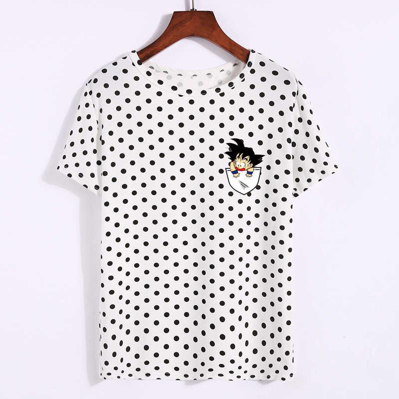 Kpop Funny Dragon Ball T koszula kobiety Polka Dot krótkim rękawem lato bluzki Anime dzieciak kieszeni Goku Vegeta drukowane Harajuku tee