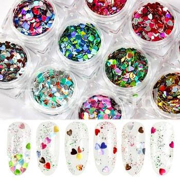 1 Box Mixed Color Heart Shape Nail Sequins Flakes Pink Purple Glitter Paillette Manicure Nail Art Decoration image