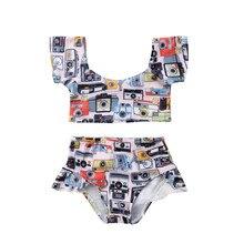 Camera Newborn Kid Baby Girl Off Shoulder Swimwear Swimsuit Bathing Beach Bikini 2Pcs Set Raglan Sleeve Sweet Cute Swimsuits