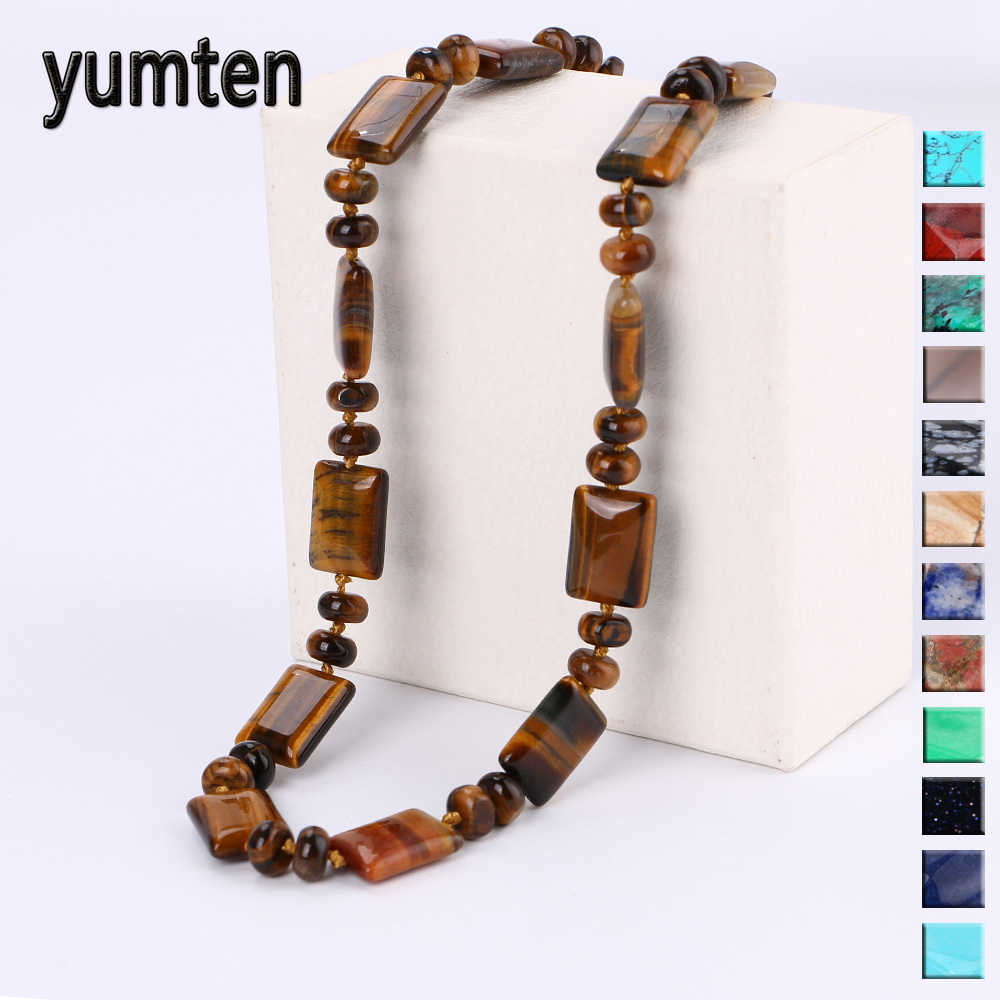 Yumten Tiger Eye Necklace Men Choker Bead Chain Natural Stone Square Jewelry Popular Male Accessories Correntes Masculino Reiki