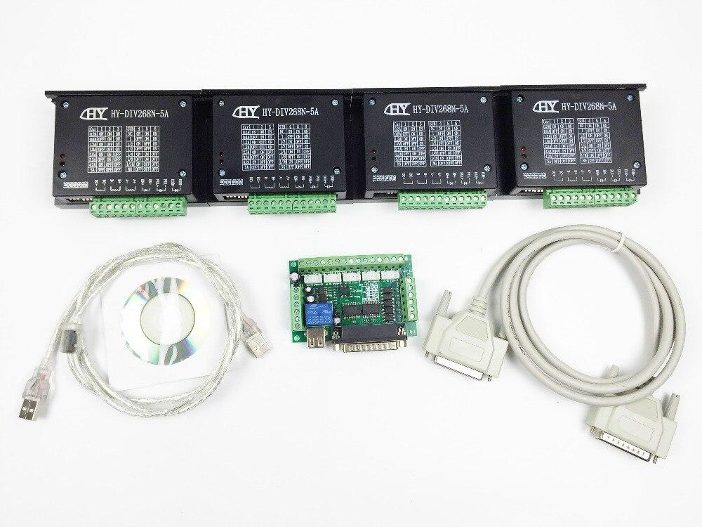 ЧПУ 4 оси комплект, TB6600 4 оси MACH3 Шаговые двигатели котроллеру водитель 5A + один 5 оси коммутационная плата для nema23 Двигатель s