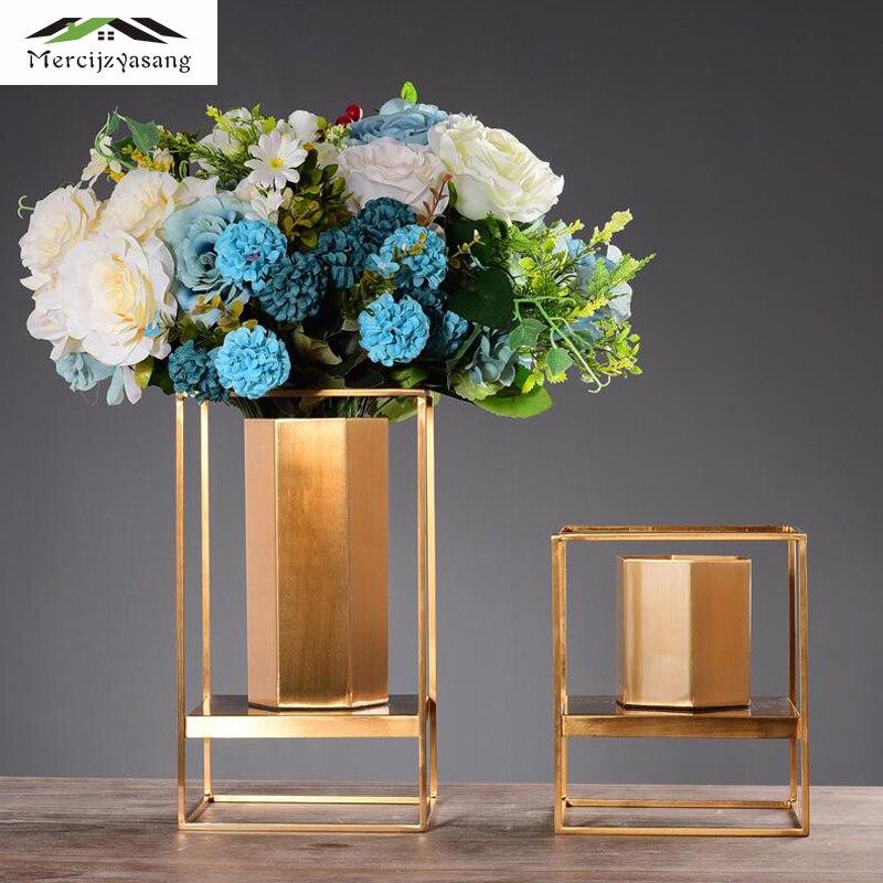 Floor Vases Table Metal Flower Vase Europe Gold Geometric Shape Road Lead Flower Holder Iron Art