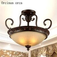 Американский Сельский под старину Железный потолочный светильник гостиная коридор лампа для спальни в стиле модерн простая стеклянная люс