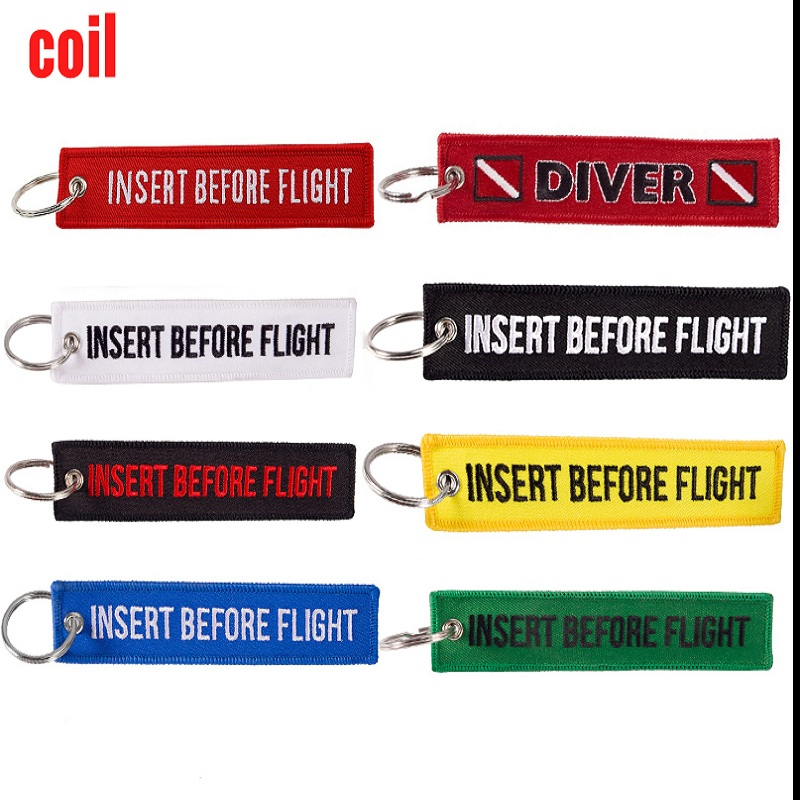 COIL Red Insert Before Flight KeyChains For Motorcycles And Cars Emboridery Customize Keyrings Avaition Gift Key Tags Llaveros