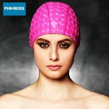 Professional Water Proof Swimming Caps Sport Shiny Elastic Swim Hats Plus Size Bathing Hats Plaid Flexible Protect Ear Swim Cap