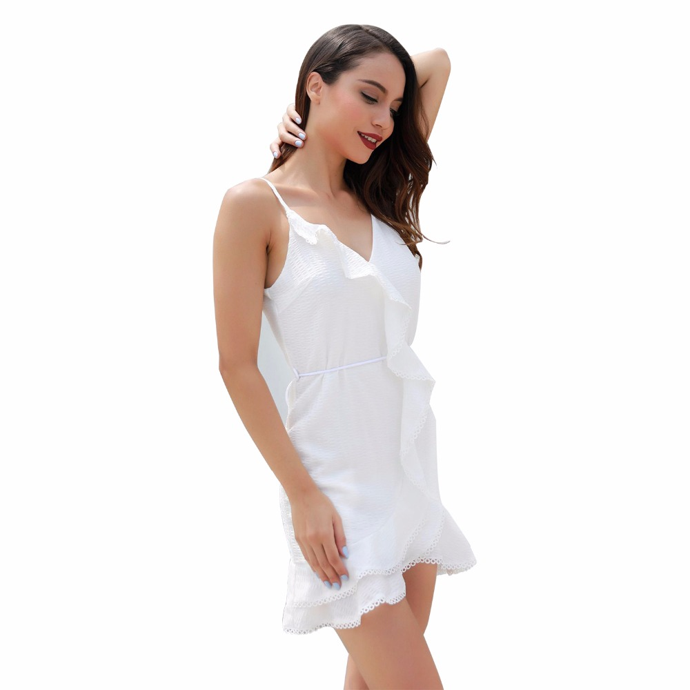 New hot summer European fashion personality sexy ruffle stitching strap high waist loose holiday women 39 s dress in Dresses from Women 39 s Clothing