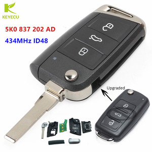 KEYECU Replacement Upgraded Foding Remote Key Fob 434MHz ID48 for Volkswagen Beetle Passat Jetta Polo FCC ID: 5K0 837 202 AD
