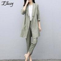 Ellacey Cotton Linen Blazer Pant Suits Women's 2019 Spring Fashion Two piece Suit Office Ladies Elegant 2 Pieces Pants Suit