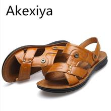 Akexiya Summer new men 's sandals leather beach men' s leather sandals male casual breathable dual – use slippers##1