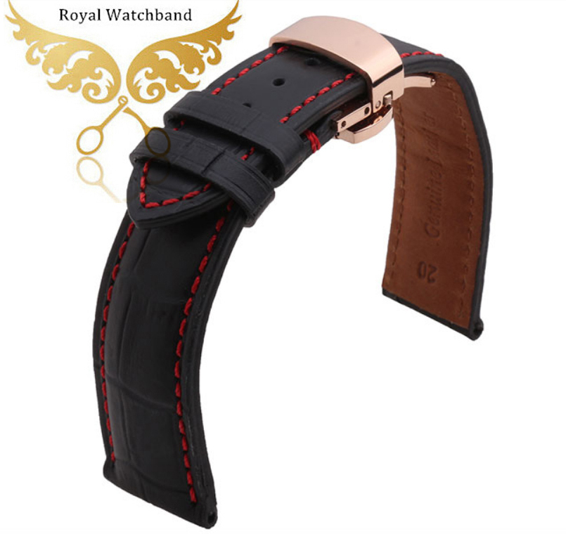 Watch band 18mm 19mm 20mm 22mm Men Black Italy Genuine Leather Watch Band Strap With Rose Gold Polished Depolyment Watch buckle  20mm 22mm 24mm genuine leather watch band strap watch with black buckles black