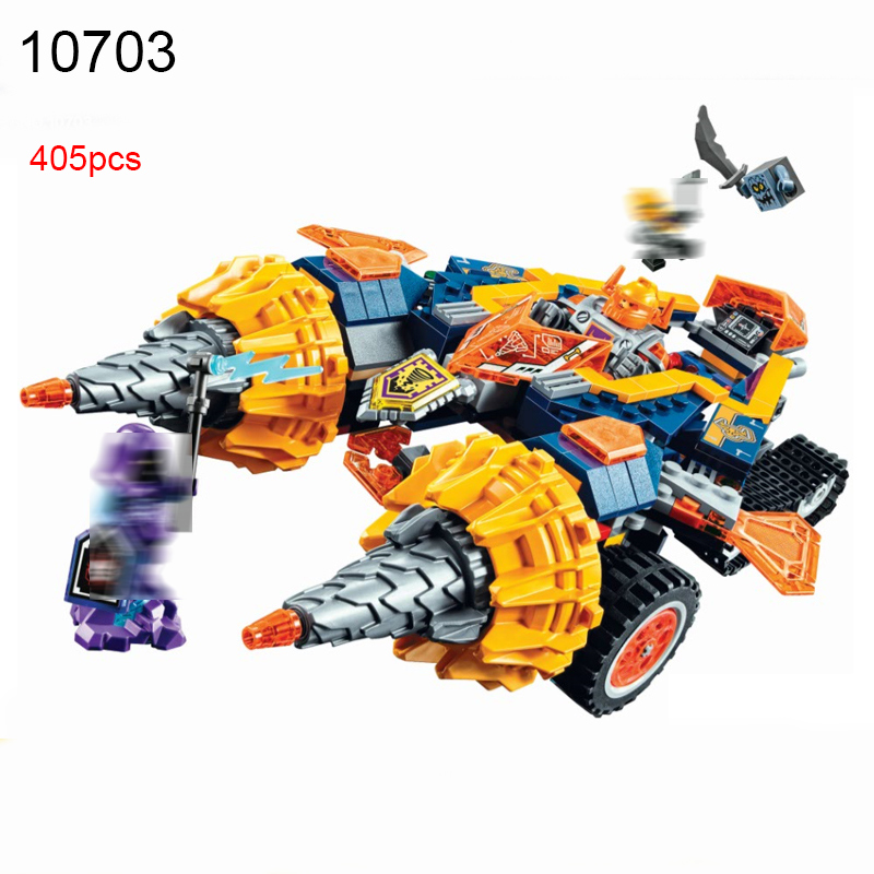10703 405pcs Nexus Knights Axl\'s Rumble Maker Building Blocks set Compatible 70354 DIY Educational Brick Toys for Children lepin 14004 knights beast master chaos chariot building bricks blocks set kids toys compatible 70314 nexus knights 334pcs set