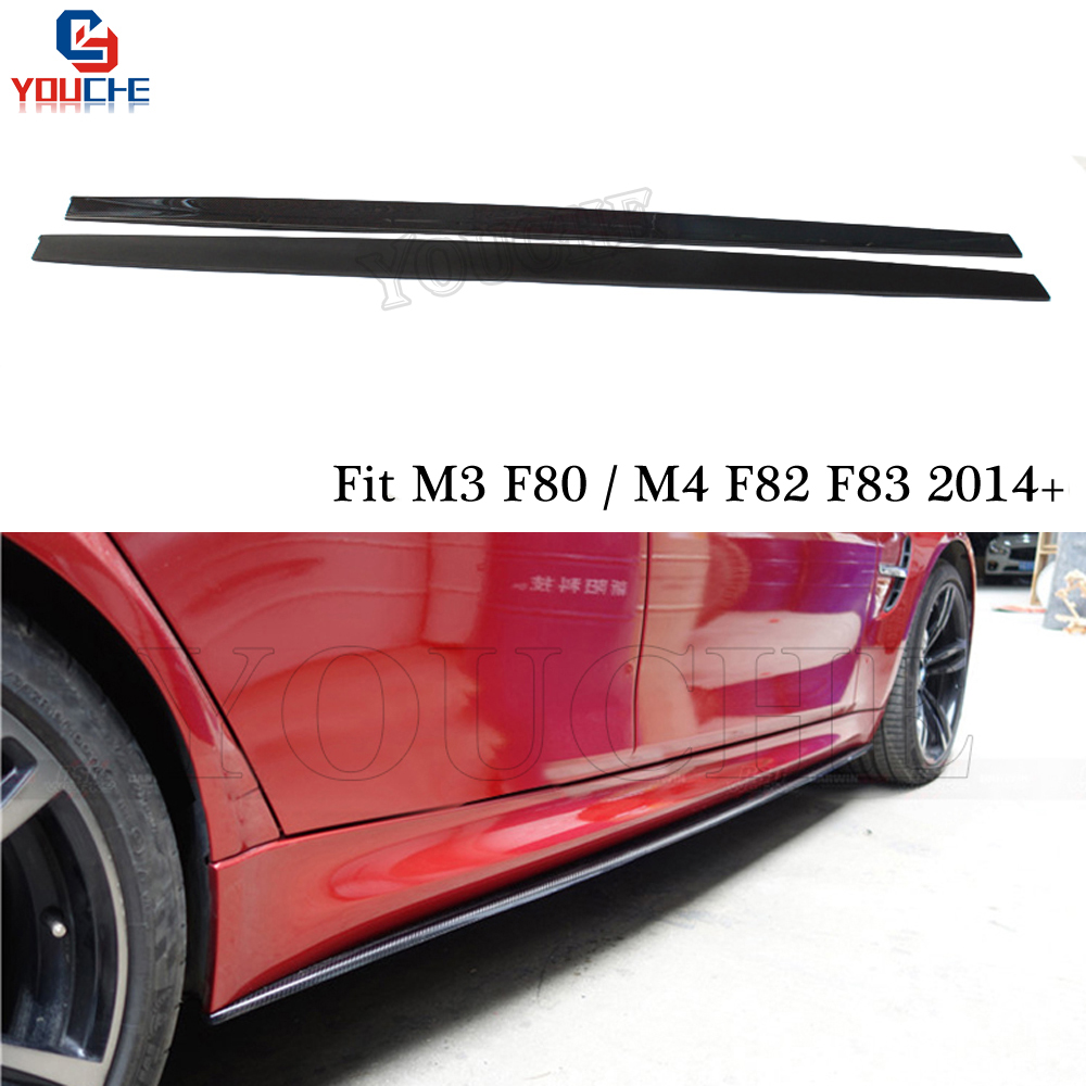 3D Style Carbon Fiber Side Skirt Bumper Lip Spoiler For BMW M4 F82 Coupe F83 Cabriolet