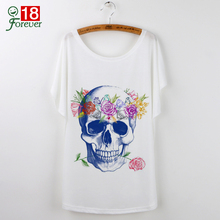 New Harajuku Skull Print T shirt women Tops 2016 Summer Clothing White T-shirt Women Loose Casual Batwing Sleeve Tee Shirt Femme