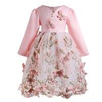 Новый бренд качество Обувь для девочек платье бабочка дети Праздничная одежда принцессы для свадьбы для малышей Розовый цвет с длинным рук...