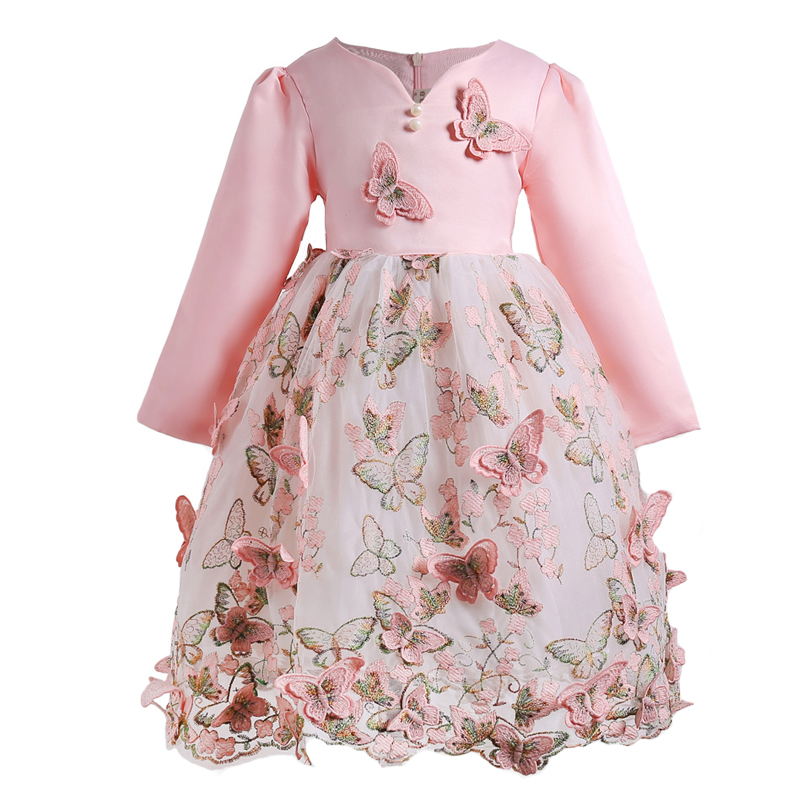 New Brand Quality Girls Dress Butterfly Kids Princess Party Clothes for Wedding Baby Toddlers Pink Color Long Sleeve Autumn long hair princess sofia dress warm butterfly purple performance evening party chrismas new year girls costumes kid clothes