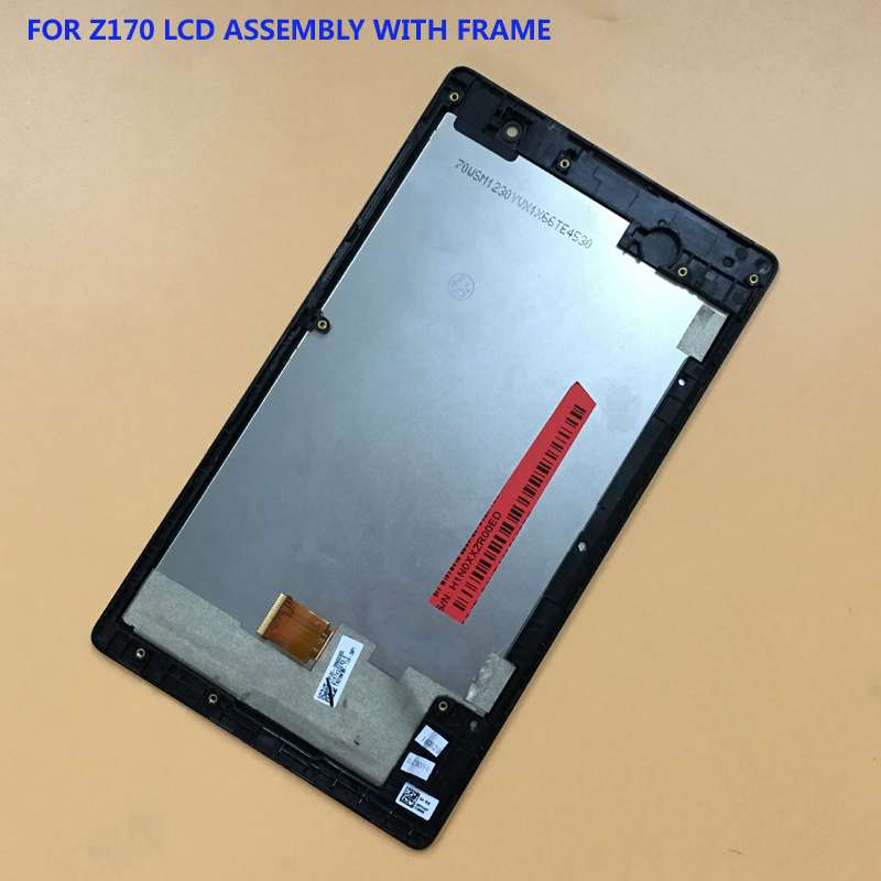 For Asus ZenPad C 7.0 Z170 Z170CG Z170MG Black Touch Screen Digitizer Glass + LCD Display Panel Assembly Frame z170 high quality soft tpu rubber cover semi transparent back case for asus zenpad c 7 0 z170 z170c z170mg z170cg silicone cover