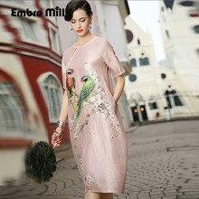 Dress party evening elegant European fashion runway luxury brand clothing print floral plus size linen silk lady dress S-XXL