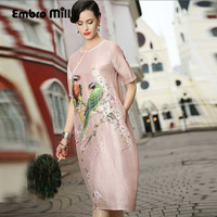 Jurk feestavond elegante Europese fashion runway luxe merk kleding print bloemen plus size linnen zijde dame jurk S-XXL