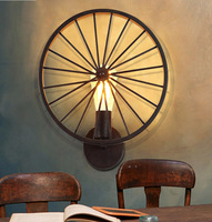American country iron industrial wind wheel wall lamp NEW Retro wall loft creative wall lamp personality Restaurant Bar GY312