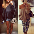 Autumn Solid Womens Off Shoulder V-Neck Chunky Knit Long Sleeve Jumper Pullover Fashion Oversized Baggy Sweater Top 6-14