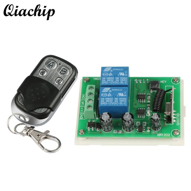 QIACHIP 433Mhz Switch DC 12V RF Relay Receiver Module Output Learning Code 1527 433 Mhz RF Transmitter Remote Control Switch DIY